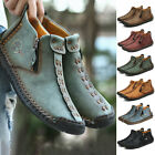 Mens Leather Casual Driving Walking Ankle Boots Work Fashion Zipper Boat Shoes