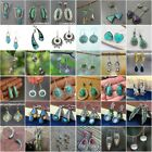 Boho 925 Silver Earrings For Women Turquoise Wedding Jewelry Gift A Pair/set