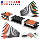 """12pcs 20 inch Archery Crossbow Bolts Carbon Arrow With 4"""" vanes Feather US Sale"""
