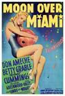 Moon over Miami Movie Poster, Vintage Retro Style Poster, Home Wall Decor Poster