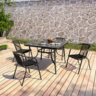 Garden Bistro Patio Furniture Set Metal & Glass Table Chairs In/outdoor Dinning