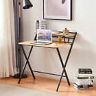 Folding Computer Desk Foldable Study Working Table no Assembly with Shelves Home