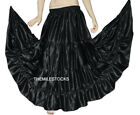 TMS Black Satin 4 Tier Skirt Belly Dance Gypsy 27 Color