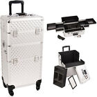 Silver Diamond 4 Wheel Spinner Pro Makeup Artist Rolling Train Case Box I3161