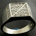 NEW 7+GMS SPARKLING WHITE CZ SOLID SILVER MENS RING FS