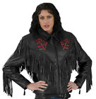 Leather Jacket with Fringes and Red Rose for Women