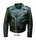 Mens Classic Black Belted Leather Motorcycle Biker Jacket