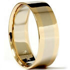 8MM Flat High Polished Mens Wedding Ring 14K White Yellow Gold Bridal Band Shiny