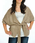 Womens Mocha Belted Kimono Knitted Wrap Cardigan Top Ladies Brand New with Tags