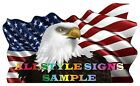 STARS & STRIPES WITH EAGLE USA  FLAPPING FLAG DECAL STICKER VARIOUS SIZES