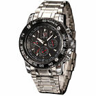 SHARK Black Dial 6 Hands Quartz Date Day Sport Stainless Steel Mens Watch