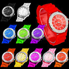 FASHION LADY BLING CRYSTAL SILICONE SILICON BRACELET WRIST WATCH