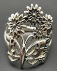 STYLISH STERLING SILVER RING SOLID 925 BUTTERFLY FLOWER NEW SIZE G - T EMPRESS
