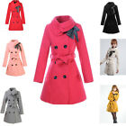 New Women Ladies Slim Double Breasted Coat Winter Outerwear Cotton Jacket black