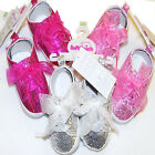 Girls Sparkle & Bow Glitter Trainers Pink, Silver or Cerise 6-9 -9-12 -12-15 Mth