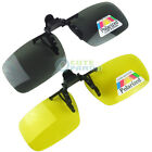 Polarized Night Vision Clip On  Flip Up Driving Lens Glasses Sunglasses NO GLARE