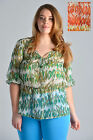 Womens Plus Size Sheer Blouse Top Chilli Print Orange and Green Ladies New