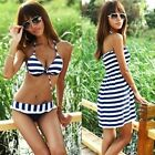 Hot Sexy 3 Piece Stripes Bikini with Beach Dress Padded Swimsuit Bathing Suit