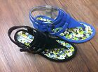 Hush Puppies Limon II Thong Black/Blue Leather Sandals Size 5.5 to 10 Authentic