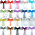 150PCS Organza Sheer Chair Sashes Wedding Party Cover Banquet Bows Colours Deco