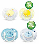 AVENT Night Time Orthodontic Silicone Soothers BPA Free