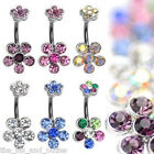 Flower Double Gem Belly Ring Navel Naval Clear,Pink,Blue,Purple,Rainbow,AB