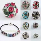 Wholesale Crystal Rhinestone Ball Large Hole Spacer Beads Fit EP Charms Bracelet
