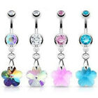Crystal Ray Prism Flower Belly Ring Gem Navel Naval AB, Clear, Pink, Aqua