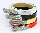 Ladies Womens Girls Faux Leather Skinny Low Waist Thin Diamante Buckle Belt