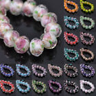 10pcs 12x8mm Faceted Lampwork Glass Charms Rose Flower Findings Loose Beads