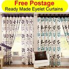 April Retro Floral Flowers Ring Top Eyelet Pair Of Ready Made Lined Curtains