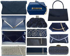 NAVY BLUE (Dark Blue) PROM BRIDAL HOLIDAY  EVENING WEDDING CLUTCH HANDBAG