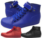 New Mens Rubber Rain Hi Top Sneakers Lace Up Short Boots 7 8 9 Water Proof Blue