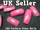 100 x FUCHSIA  HOT PINK FALSE FAKE ACRYLIC FULL FRENCH NAILS TIPS ART MAKE UP UK