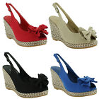 New Ladies Slingback Wedge Summer Peep Toe Platform Sandals Size 3 4 5 6 7 8
