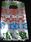 100 x CLEAR PLASTIC STARS GIFT PARTY CARRIER BAGS SHOPS SWEETS 4 SIZES UK SELLER