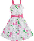 Girls Dress Pink Flower Green Leaves Black Dot Bow Tie SZ 5 6 7 8 9 10 11 12 Y