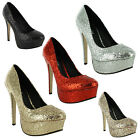 New Ladies Glitter Stiletto High Heel Platform Court Sandals Size UK 3 4 5 6 7 8