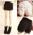 Sexy Skorts Mini Lace Tiered Short Skirts Under Safety Pants Black Beige Shorts