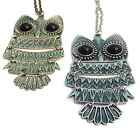 XL ALLOY Vintage Style **Retro Owl Pendant Long Chain Necklace - Choose Colour!