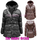 NEW GIRLS CHILDRENS KIDS BELTED QUILTED PADDED HOODED PARKA JACKET COAT AGE 7-13