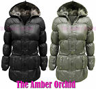 NEW GIRLS QUILTED PADDED FUR HOODED CHILDRENS PARKA JACKET COAT AGE 7-13