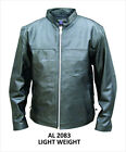 Mens Black Soft, Light Buffalo Leather Scooter Shirt Jacket Side Lace