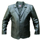 Mens 3 Button Black Lambskin Leather Blazer Jacket Soft and Light