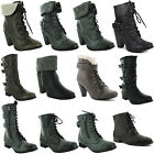 New Ladies Low High Heel Army Military Biker Ankle Long Boots Size 3 4 5 6 7 8