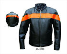 Mens Black Orange Cowhide Leather Scooter Jacket Euro Collar Zip Out Liner