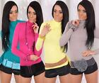 Sexy Ladies Long Sleeved Tunic Top Polo Neck Long Shirt Many Colors 6/8/10/12