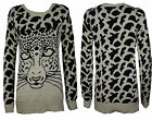 NEW WOMENS LADIES KNITTED TIGER PRINT WINTER WARM JUMPER CARDIGAN SIZE 8 10 12