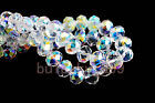 3~12MM Faceted Rondelle Loose Finding Crystal Glass Beads Clear Aurora Borealis