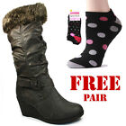 Ladies Womens Fur Knee High Wedge Boots Grey Zip Up Casual Formal Shoes New